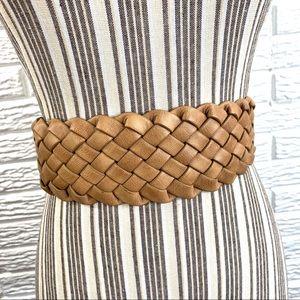 Express Wide Tan Woven Faux Leather Belt